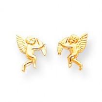 Cupid Screwback Earrings in 14k Yellow Gold