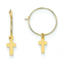 Endless Hoop Cross Earrings in 14k Yellow Gold