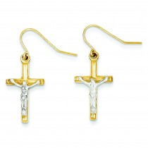 Polished Crucifix Earrings in 14k Yellow Gold