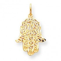 Filigree Chamseh Charm in 10k Yellow Gold
