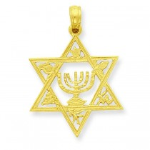 Star Of David Menorah Pendant in 14k Yellow Gold