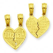 Break Apart Mizpah Pendant in 14k Yellow Gold