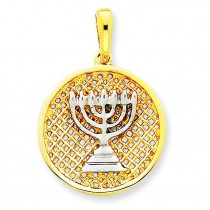 Mesh Menorah Pendant in 14k Yellow Gold