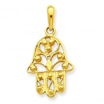 Filigree Chamseh Pendant in 14k Yellow Gold