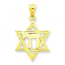 Chai Star Of David Charm in 14k Yellow Gold
