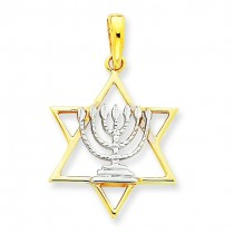 Menorah Star Of David Charm in 14k Yellow Gold