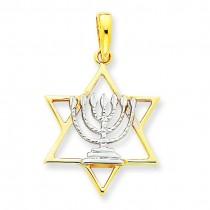 Menorah Star Of David Charm in 14k Yellow Gold