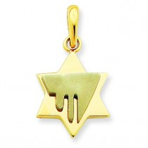 Chai Star Of David Pendant in 14k Two-tone Gold