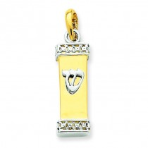 Mezuzah Pendant in 14k Two-tone Gold