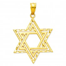 Satin Star Of David Charm in 14k Yellow Gold