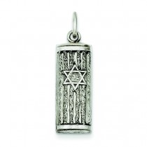 Antiqued Mezuzah Pendant in Sterling Silver