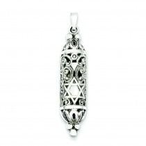 Fancy Mezuzah Pendant in Sterling Silver
