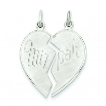 Heart Mitzpah Charm in Sterling Silver