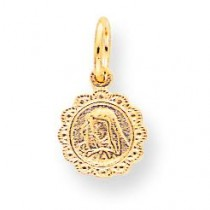 Polished Our Lady Of Sorrows Disc Pendant in 10k Yellow Gold