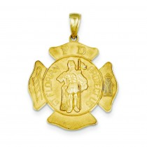 Large St Florian Badge Pendant in 14k Yellow Gold