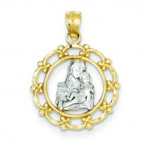 Mother Holding Baby Pendant in 14k Yellow Gold