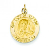 Our Lady Of Sorrows Medal in 14k Yellow Gold
