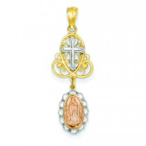 Our Lady Of Guadalupe Pendant in 14k Yellow Gold