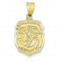 St Michael Medal Badge Pendant in 14k Yellow Gold