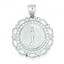 Blessed Mary Medal in 14k White Gold