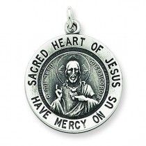 Sacred Heart of Jesus Medal in Sterling Silver