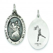 St Christopher Basketball Medal in Sterling Silver