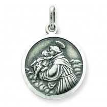 Antiqued Saint Anthony Medal in Sterling Silver