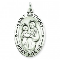 Antiqued St Anthony Medal in Sterling Silver