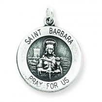 Antiqued St Barbara Medal in Sterling Silver