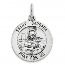St Barbara Medal in Sterling Silver