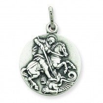 Antiqued St George Medal in Sterling Silver