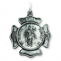 Saint Florian Badge Medal in Sterling Silver