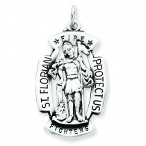 Antiqued St Florian Medal in Sterling Silver