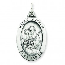 Antiqued St Joseph Medal in Sterling Silver