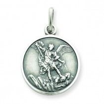 Antiqued Saint Michael Medal in Sterling Silver