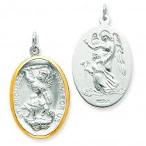 Vermeil St. Michael Medal in Sterling Silver