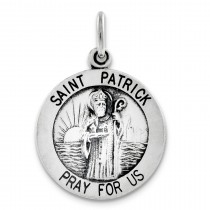 Antiqued Saint Patrick Medal in Sterling Silver