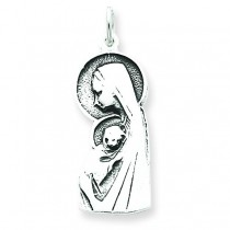 Blessed Mary Child Jesus Charm in Sterling Silver