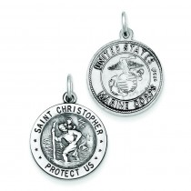 St Christopher US Marine Corp Medal in Sterling Silver