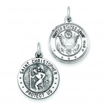 St Christopher US Army Medal in Sterling Silver
