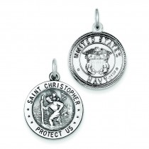 St  Christopher US Navy Medal in Sterling Silver