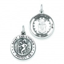 St Christopher US Air Force Medal in Sterling Silver