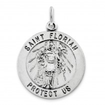 St Florian Medal in Sterling Silver