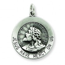 Jesus Have Mercy Medal in Sterling Silver