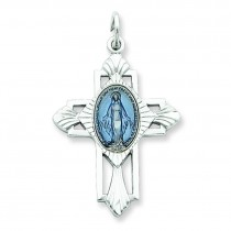 Miraculous Medal Cross in Sterling Silver
