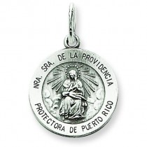 Antiqued De La Providencia Medal in Sterling Silver