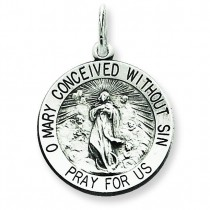 Blessed Mother Medal in Sterling Silver