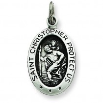 Antiqued St Christopher Medal in Sterling Silver