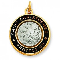 Epoxy St Christopher Charm in Sterling Silver