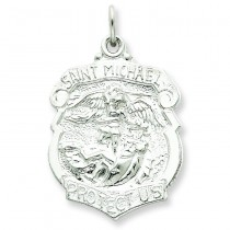 St Michael Badge Medal in Sterling Silver
